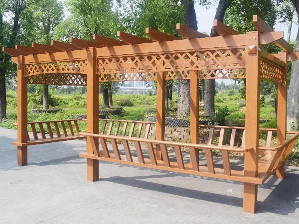 菱形花格铝合金葡萄架 带座椅